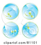 Royalty Free RF Clipart Illustration Of A Digital Collage Of Four Glass Eco Circles With Leaves by MilsiArt