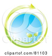 Royalty Free RF Clipart Illustration Of A Green Plant Arrow Circling Blue Glass