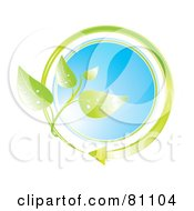 Royalty Free RF Clipart Illustration Of A Blue Glass Circle With A Green Arrow And Leaves by MilsiArt