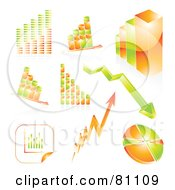 Royalty Free RF Clipart Illustration Of A Digital Collage Of Ed Orange And Green Arrows Graphs And Charts by MilsiArt