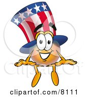 Uncle Sam Mascot Cartoon Character Sitting