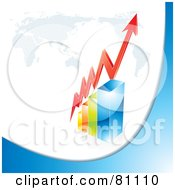 Royalty Free RF Clipart Illustration Of A 3d Red Arrow Curving Around A Red Bar Graph Under A Map