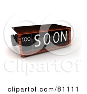 Royalty Free RF Clipart Illustration Of A 3d Wooden Alarm Clock Reading Too Soon