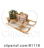 Royalty Free RF Clipart Illustration Of A 3d Wooden Sled With Wrapped Christmas Presents On A Shaded White Background by stockillustrations