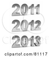 Royalty Free RF Clipart Illustration Of A Digital Collage Of Silver 3d Years 2011 2012 And 2013