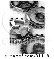 Royalty Free RF Clipart Illustration Of Metal Cogs With Shallow Depth Of Field Over A White Reflective Surface