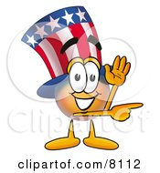 Clipart Picture Of An Uncle Sam Mascot Cartoon Character Waving And Pointing by Toons4Biz