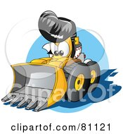 Royalty Free RF Clipart Illustration Of A Tough Elvis Bulldozer by Holger Bogen