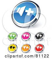 Digital Collage Of Shiny Colored And Chrome Volume Up Website Buttons