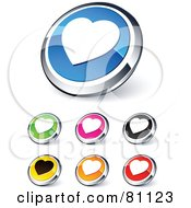 Digital Collage Of Shiny Colored And Chrome Heart Website Buttons