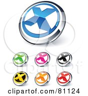 Digital Collage Of Shiny Colored And Chrome X Website Buttons