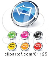 Digital Collage Of Shiny Colored And Chrome Left Arrow Website Buttons