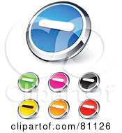 Digital Collage Of Shiny Colored And Chrome Minus Website Buttons