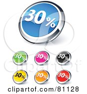 Digital Collage Of Shiny Colored And Chrome 30 Percent Website Buttons