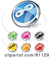 Digital Collage Of Shiny Colored And Chrome Link Website Buttons