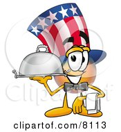 Uncle Sam Mascot Cartoon Character Dressed As A Waiter And Holding A Serving Platter