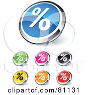 Digital Collage Of Shiny Colored And Chrome Percent Website Buttons