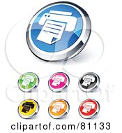 Royalty Free RF Clipart Illustration Of A Digital Collage Of Shiny Colored And Chrome Printer Website Buttons