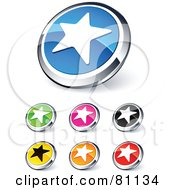 Royalty Free RF Clipart Illustration Of A Digital Collage Of Shiny Colored And Chrome Star Website Buttons by beboy