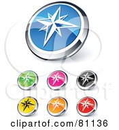 Royalty Free RF Clipart Illustration Of A Digital Collage Of Shiny Colored And Chrome Ice Star Website Buttons by beboy
