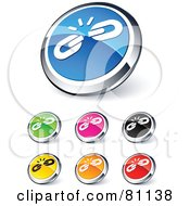Royalty Free RF Clipart Illustration Of A Digital Collage Of Shiny Colored And Chrome Weak Link Website Buttons by beboy