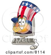 Clipart Picture Of An Uncle Sam Mascot Cartoon Character Waving From Inside A Computer Screen by Toons4Biz