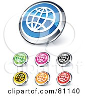 Digital Collage Of Shiny Colored And Chrome Internet Website Buttons