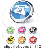 Digital Collage Of Shiny Colored And Chrome Landline Website Buttons