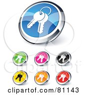 Digital Collage Of Shiny Colored And Chrome Keychain Website Buttons