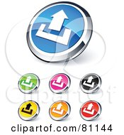 Digital Collage Of Shiny Colored And Chrome Uploading Website Buttons