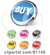 Digital Collage Of Shiny Colored And Chrome Buy Website Buttons