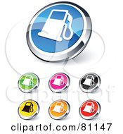 Digital Collage Of Shiny Colored And Chrome Gas Pump Website Buttons