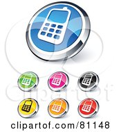 Digital Collage Of Shiny Colored And Chrome Cell Phone Website Buttons