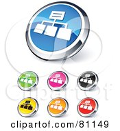 Digital Collage Of Shiny Colored And Chrome Network Website Buttons