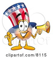 Clipart Picture Of An Uncle Sam Mascot Cartoon Character Holding A Megaphone by Toons4Biz