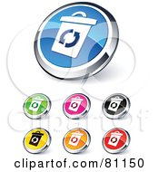 Royalty Free RF Clipart Illustration Of A Digital Collage Of Shiny Colored And Chrome Recycle Bin Website Buttons by beboy