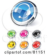Digital Collage Of Shiny Colored And Chrome Headset Website Buttons