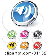 Digital Collage Of Shiny Colored And Chrome Speaker Website Buttons