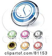 Royalty Free RF Clipart Illustration Of A Digital Collage Of Shiny Colored And Chrome Wall Clock Website Buttons
