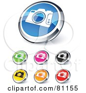 Royalty Free RF Clipart Illustration Of A Digital Collage Of Shiny Colored And Chrome Camera Website Buttons