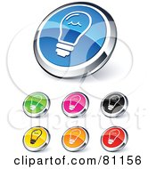 Royalty Free RF Clipart Illustration Of A Digital Collage Of Shiny Colored And Chrome Light Bulb Website Buttons by beboy