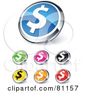 Digital Collage Of Shiny Colored And Chrome Financial Dollar Website Buttons