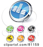 Royalty Free RF Clipart Illustration Of A Digital Collage Of Shiny Colored And Chrome Equalizer Website Buttons