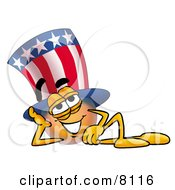 Clipart Picture Of An Uncle Sam Mascot Cartoon Character Resting His Head On His Hand by Toons4Biz