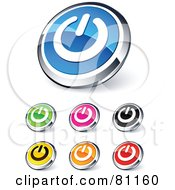 Digital Collage Of Shiny Colored And Chrome Power Website Buttons