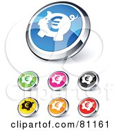 Digital Collage Of Shiny Colored And Chrome Euro Piggy Bank Website Buttons