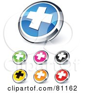 Digital Collage Of Shiny Colored And Chrome Cross Website Buttons