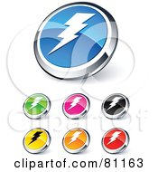 Digital Collage Of Shiny Colored And Chrome Lightning Website Buttons