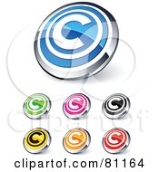 Digital Collage Of Shiny Colored And Chrome Copyright Website Buttons