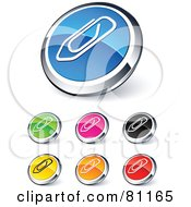 Royalty Free RF Clipart Illustration Of A Digital Collage Of Shiny Colored And Chrome Attachment Paperclip Website Buttons
